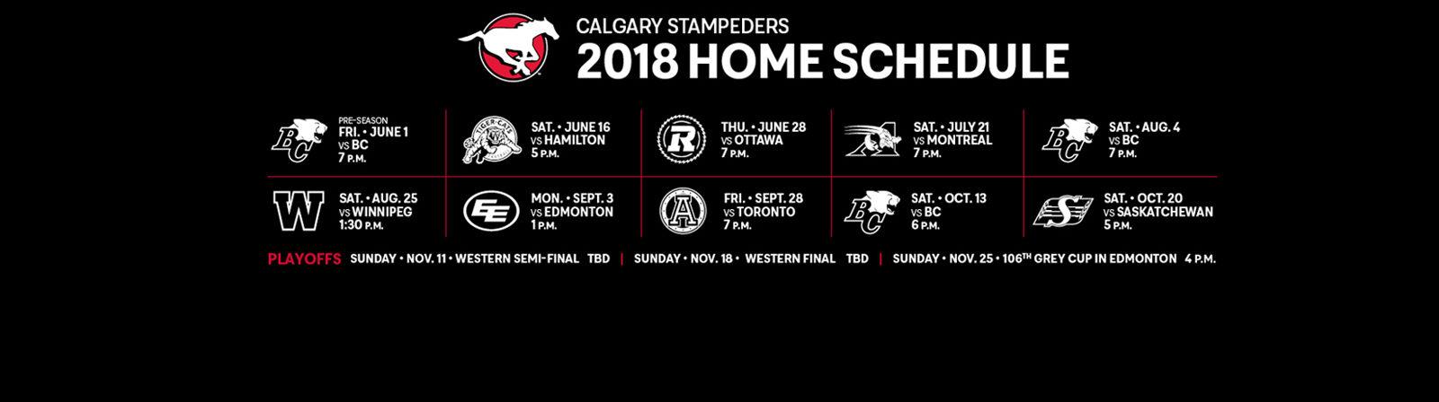 Stampeders Announce 2018 Schedule Calgary Stampeders