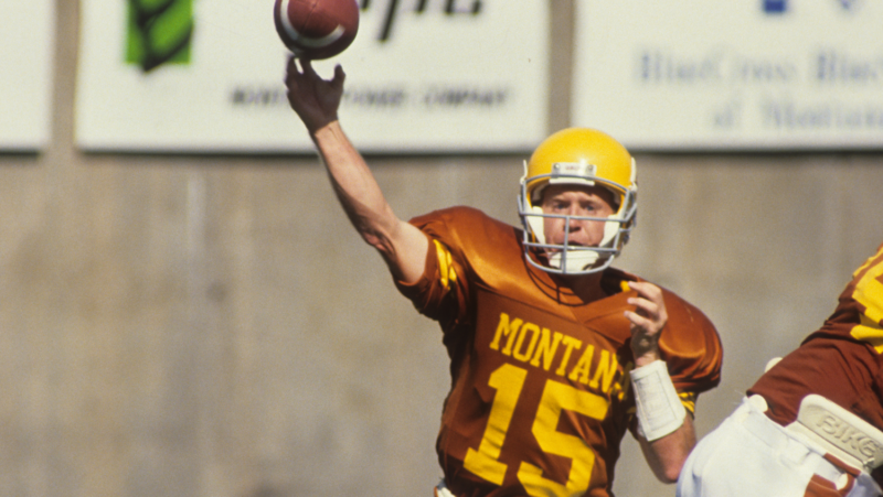 Dave Dickenson playing QB for the Montana Grizzlies (Photo supplied by Montana Athletics)