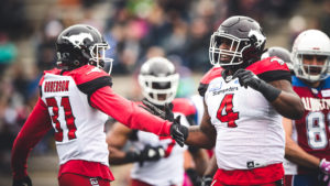Micah Johnson (4) and Tre Roberson (31) of the Calgary Stampeders during the game against the Montreal Alouettes at Percival-Molson Stadium in Montreal, QC on Monday, October 8, 2018. (Photo: Johany Jutras / CFL)