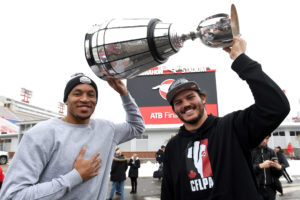 GREY CUP ARRIVAL IN CALGARY