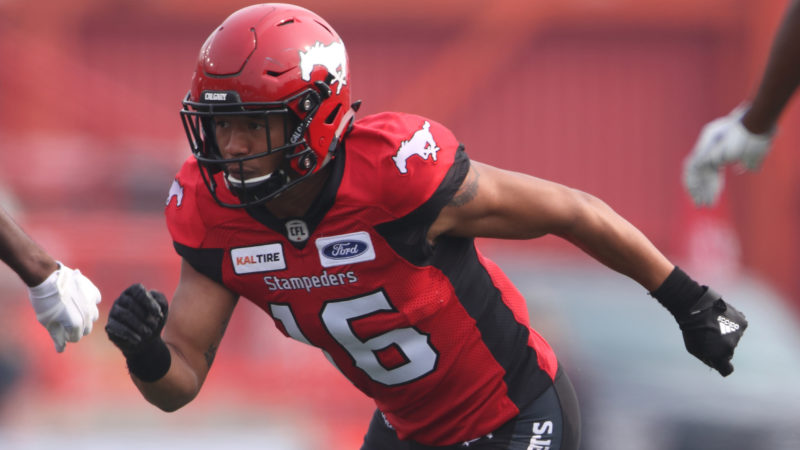 CALGARY, AB - AUGUST 25, 2018: The Calgary Stampeders won 39-26 against the Winnipeg Blue Bombers at McMahon Stadium on Saturday afternoon. (Photo by David Moll/Calgary Stampeders)