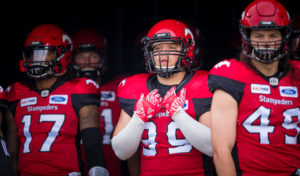 CALGARY, AB - AUGUST 4, 2018: The Calgary Stampeders won 27-18 against the BC Lions at McMahon Stadium on Saturday night. (Angela Burger/Calgary Stampeders)