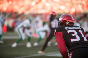 CALGARY, AB - OCTOBER 20, 2018: The Calgary Stampeders lost 29-24 against the Saskatchewan Roughriders at McMahon Stadium on Saturday. (Photo by Eric Boldt/Calgary Stampeders)