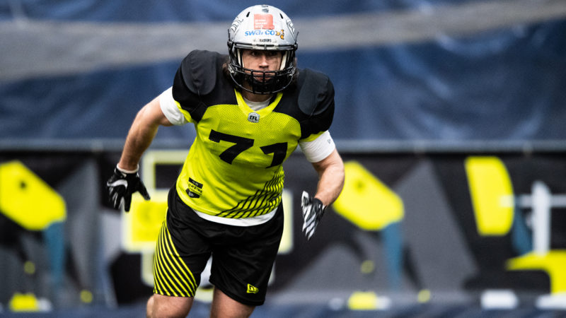 LB Roni Salonen (71) Finland during the CFL combine at the Varsity Stadium in Toronto, ON, Sunday, March 24, 2019. (Photo: Johany Jutras/CFL)