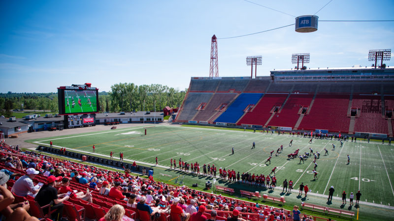 CALGARY, AB - MAY 27, 2018: The Calgary Stampeders host a training camp BBQ at McMahon Stadium on Sunday afternoon (Angela Burger/Calgary Stampeders).