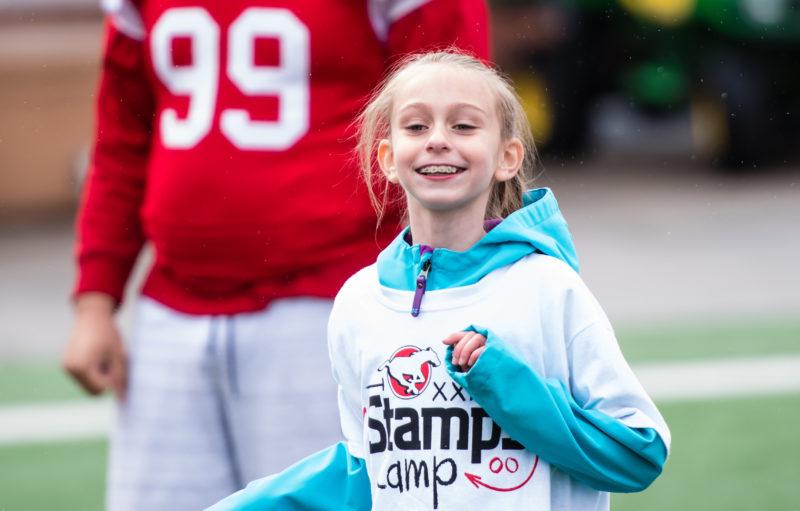 CALGARY, AB - MAY18, 2019: The Calgary Stampeders host Junior Stamps Camp at McMahon Stadium on Saturday morning (Angela Burger/Calgary Stampeders).