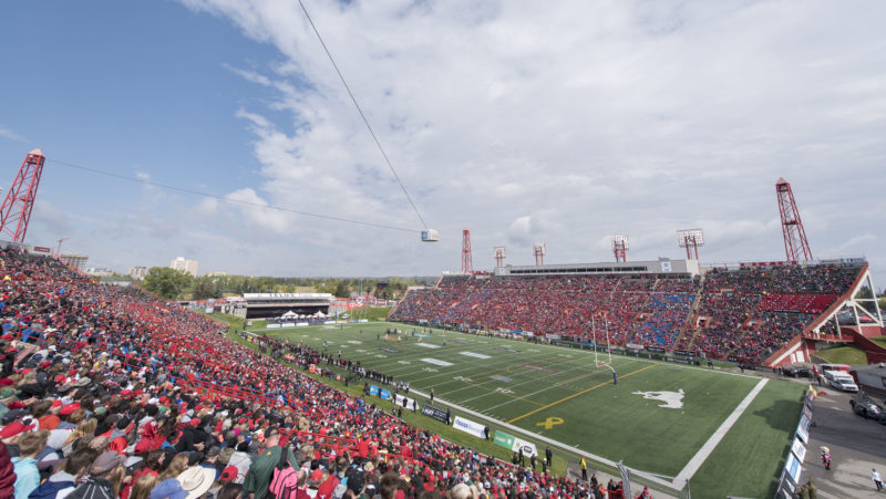 CALGARY, AB - SEPTEMBER 3, 2018: The Calgary Stampeders won 23-20 against the Edmonton Eskimos at Monday afternoon's Labour Day Classic at McMahon Stadium. (Photo by Mark Shannon/Calgary Stampeders)