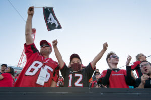 CALGARY, AB - JUNE 29, 2019: The Calgary Stampeders won 36-32 against the BC Lions at McMahon Stadium on Saturday night. (Photo by Eric Boldt/Calgary Stampeders)