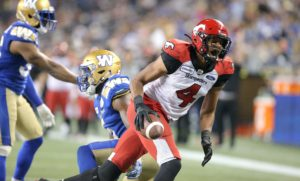 Calgary Stampeders LKJLKJKL Winnipeg Blue Bombers LKJLKJKL during fourth quarter CFL action in Winnipeg on Thursday, August 8, 2019. (CFL PHOTO - Jason Halstead)  Winnipeg Blue Bombers LKJLKJKL Calgary Stampeders LKJLKJKL during fourth quarter CFL action in Winnipeg on Thursday, August 8, 2019. (CFL PHOTO - Jason Halstead)