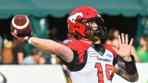 Calgary Stampeders player #19 (QB) Bo Levi Mitchell gets ready to throw the ball as the Edmonton Eskimos take on the Calgary Stampeders during the pre-game warm-up before the first half half of CFL game action at the Brick Field located at Commonwealth stadium in Edmonton Saturday, September 07, 2019.(CFL PHOTO - Walter Tychnowicz)