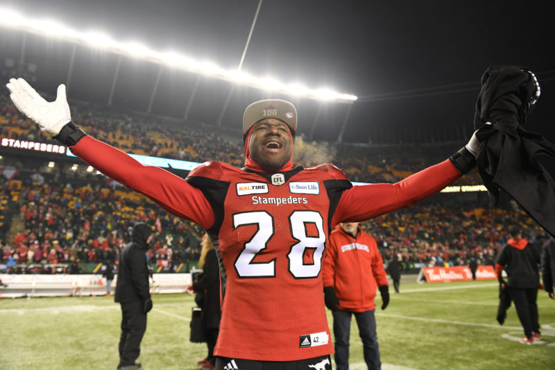 EDMONTON, AB - NOVEMBER 25, 2018: The Calgary Stampeders won 27-16 against the Ottawa Redblacks in the 106th Grey Cup at Commonwealth Stadium on Sunday afternoon. (Photo by Candice Ward/Calgary Stampeders)