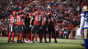 CALGARY, AB - OCTOBER 19, 2019: The Calgary Stampeders won 37-33 against the Winnipeg Blue Bombers at McMahon Stadium on Saturday. (Photo by Eric Boldt/Calgary Stampeders)
