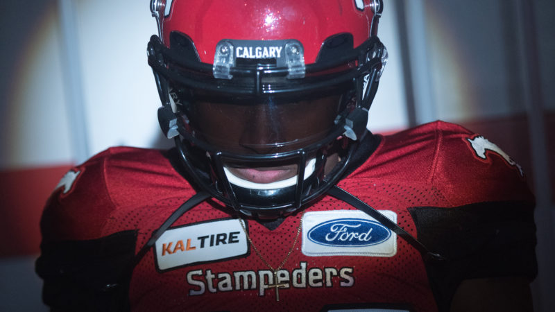 CALGARY, AB - JUNE 29, 2018: Photo from the 2018 Calgary Stampeders home opener video shoot at McMahon Stadium on Tuesday. (Photo by Bret Kenworthy/Calgary Stampeders)