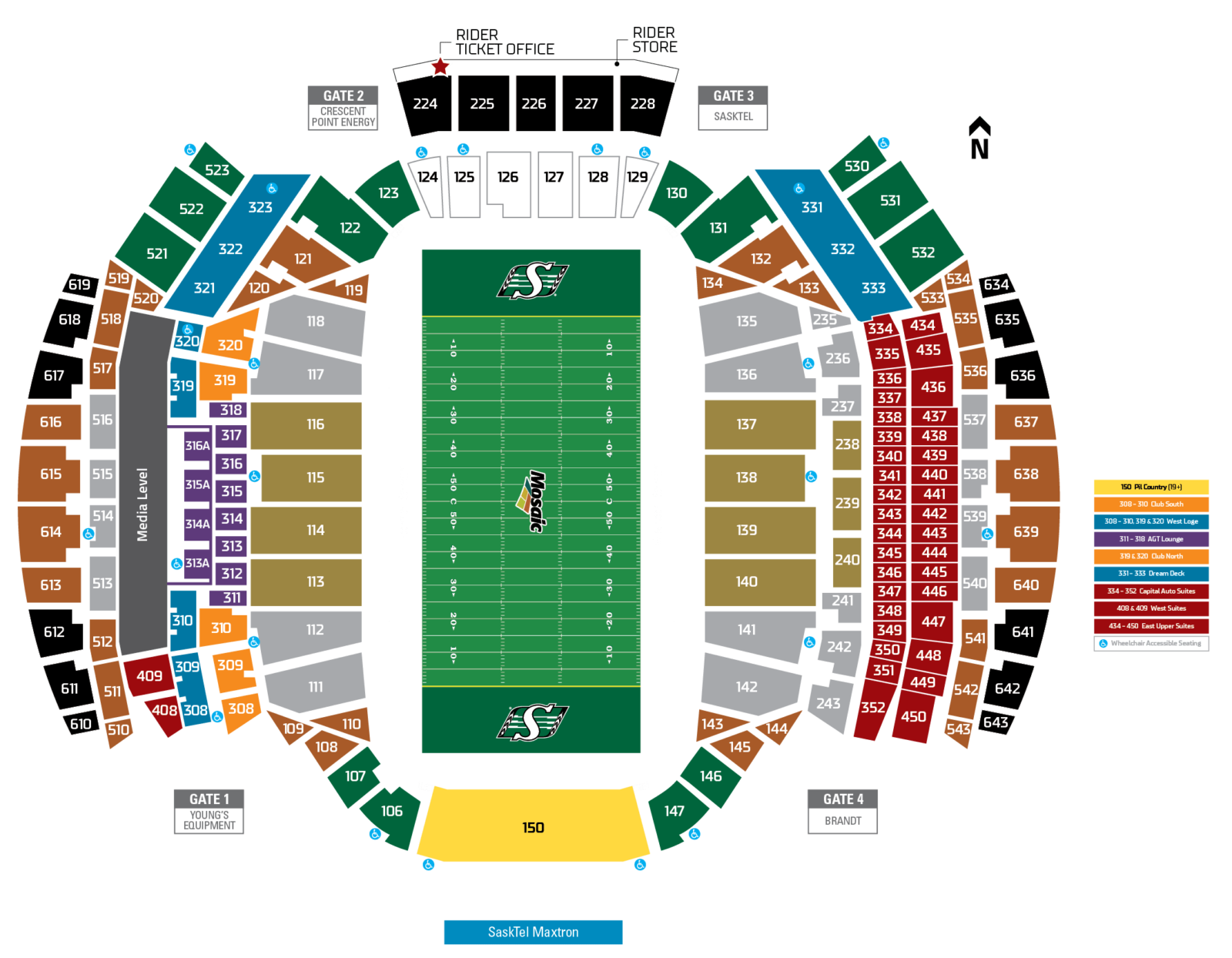 Official Seating Map Saskatchewan Roughriders