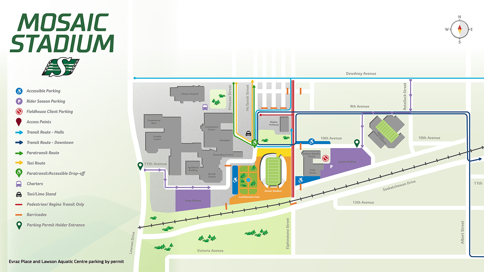 Parking Map Saskatchewan Roughriders