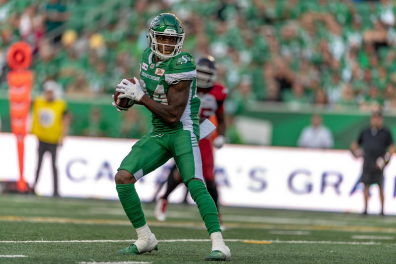 The Saskatchewan Roughriders take on the Calgary Stampeders in CFL action on August 19, 2018 at Mosaic Stadium in Regina, SK.  Liam Richards/Electric Umbrella