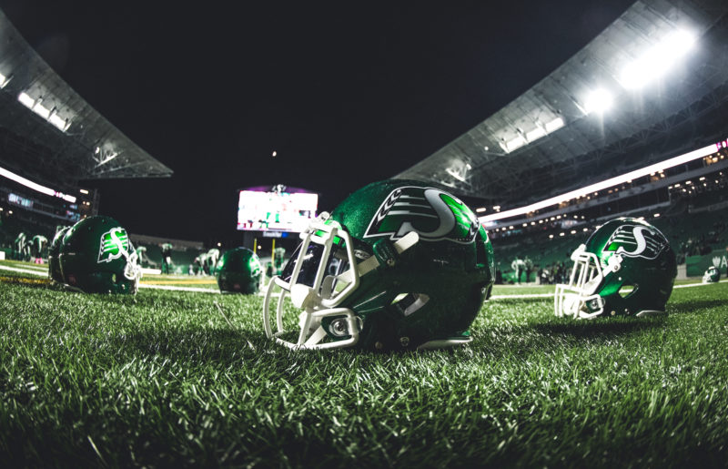 On the field before the game between Montreal Alouettes and the Saskatchewan Roughriders at Mosaic Stadium in Regina, SK, on Friday, Oct. 27, 2017. (Photo: Johany Jutras)