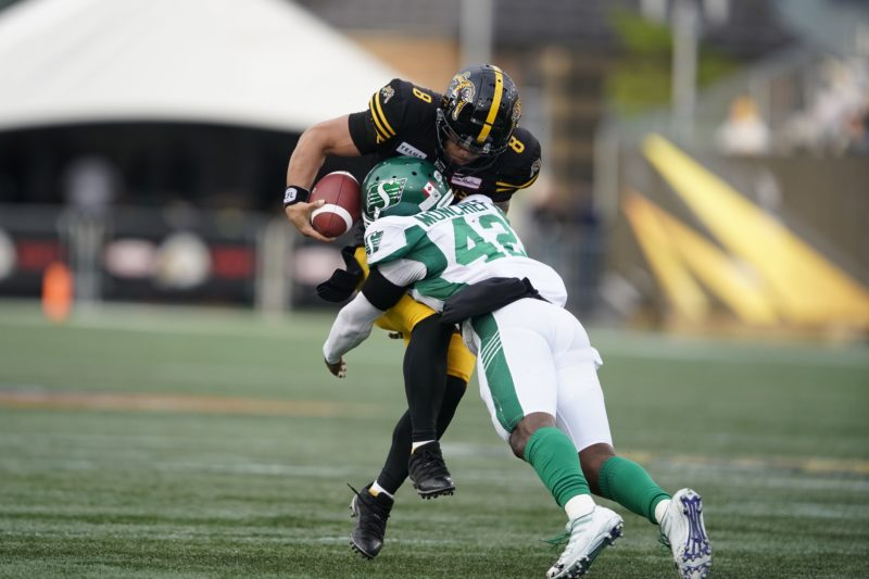 Hamilton quarterback Jeremiah Masoli is sacked by Saskatchewan's Derrick Moncrief during first quarter CFL action between the Ticats and the Roughriders in Hamilton, Ontario on June 13th, 2019. (CFL PHOTO - Geoff Robins)