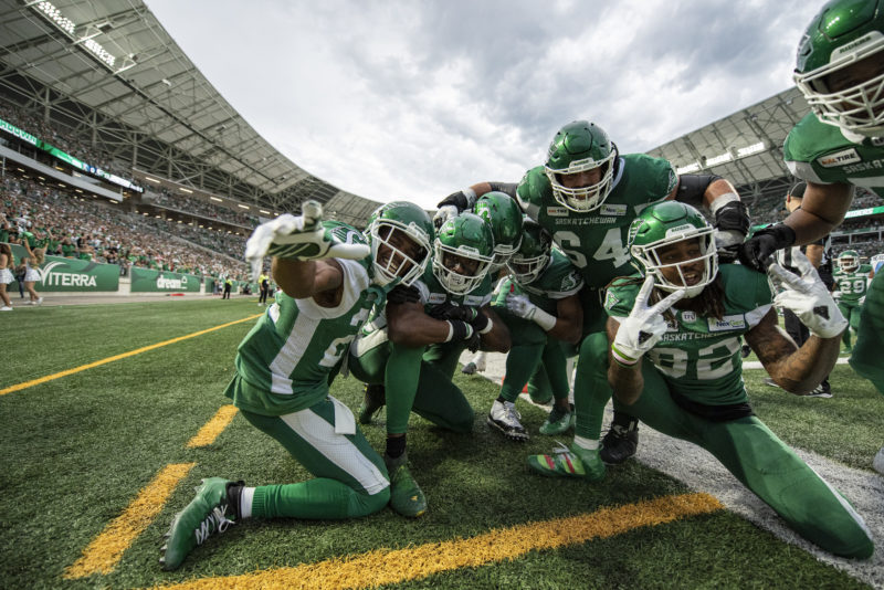 The Saskatchewan Roughriders take on the Toronto Argonauts in CFL action on July 1st, 2019 at Mosaic Stadium in Regina, SK.  Liam Richards/Electric Umbrella