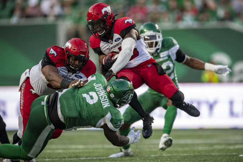 The Saskatchewan Roughriders take on the Calgary Stampeders in CFL action on July 6th, 2019 at Mosaic Stadium in Regina, SK.  Liam Richards/Electric Umbrella