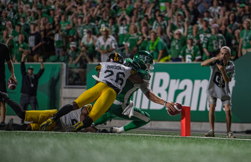 as the Saskatchewan Roughriders take on the Hamilton Tiger Cats in CFL action at Mosaic Stadium in Regina, SK, August 1, 2019..Photo Electric Umbrella/Liam Richards as the Saskatchewan Roughriders take on the Hamilton Tiger Cats in CFL action at Mosaic Stadium in Regina, SK, August 1, 2019  Photo Electric Umbrella/Liam Richards