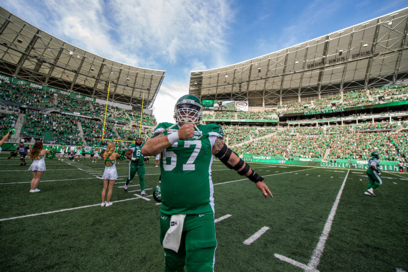 the Saskatchewan Roughriders take on the Ottawa Red Blacks in CFL action in Regina, SK on Saturday, August 24th, 2019...Photo Electric Umbrella/Liam Richards the Saskatchewan Roughriders take on the Ottawa Red Blacks in CFL action in Regina, SK on Saturday, August 24th, 2019.  Photo Electric Umbrella/Liam Richards