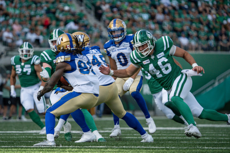 The Saskatchewan Roughriders take on the Winnipeg Blue-Bombers in CFL action on September 1st, 2019 at Mosaic Stadium in Regina, SK.  Derek Mortensen/Electric Umbrella