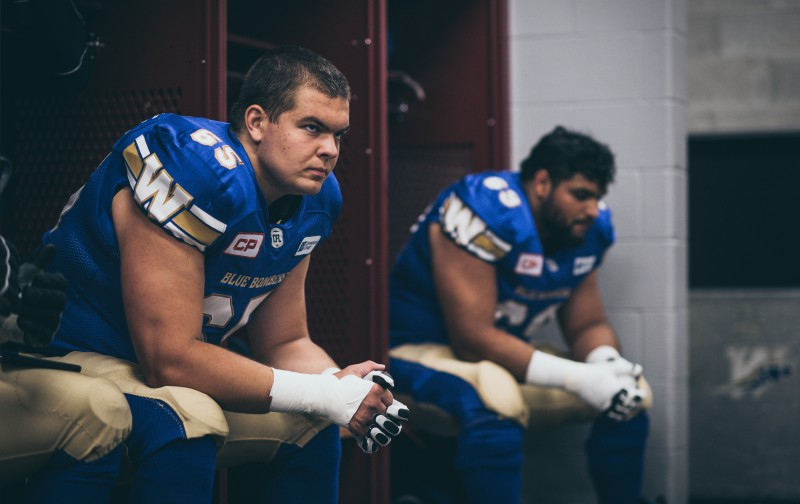 Michael Couture (65) of the Winnipeg Blue Bombers before the pre-season game at TD Place in Ottawa, ON on Monday June 13, 2016. (Photo: Johany Jutras)