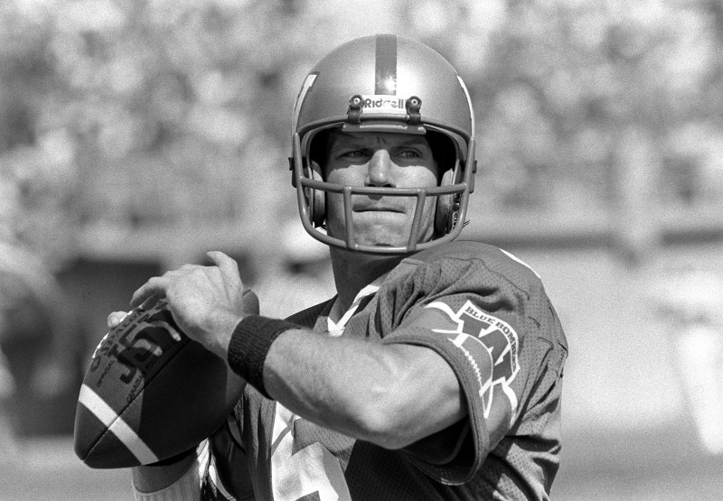 must credit -KEN GIGLIOTTI / WINNIPEG FREE PRESS / Sept 30 1981-  Winnipeg Blue Bomber QB Dieter Brock , played 10 seasons with the Bombers  from 1974-83
