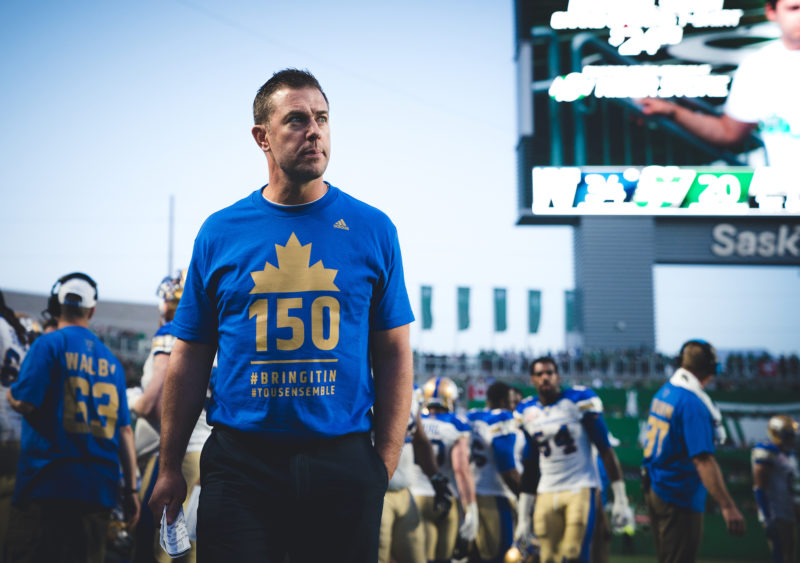 Winnipeg Blue Bombers general manager Kyle Walters during the game at New Mosaic Stadium in Regina, SK, Saturday, July 1st, 2017. (Photo: Johany Jutras)