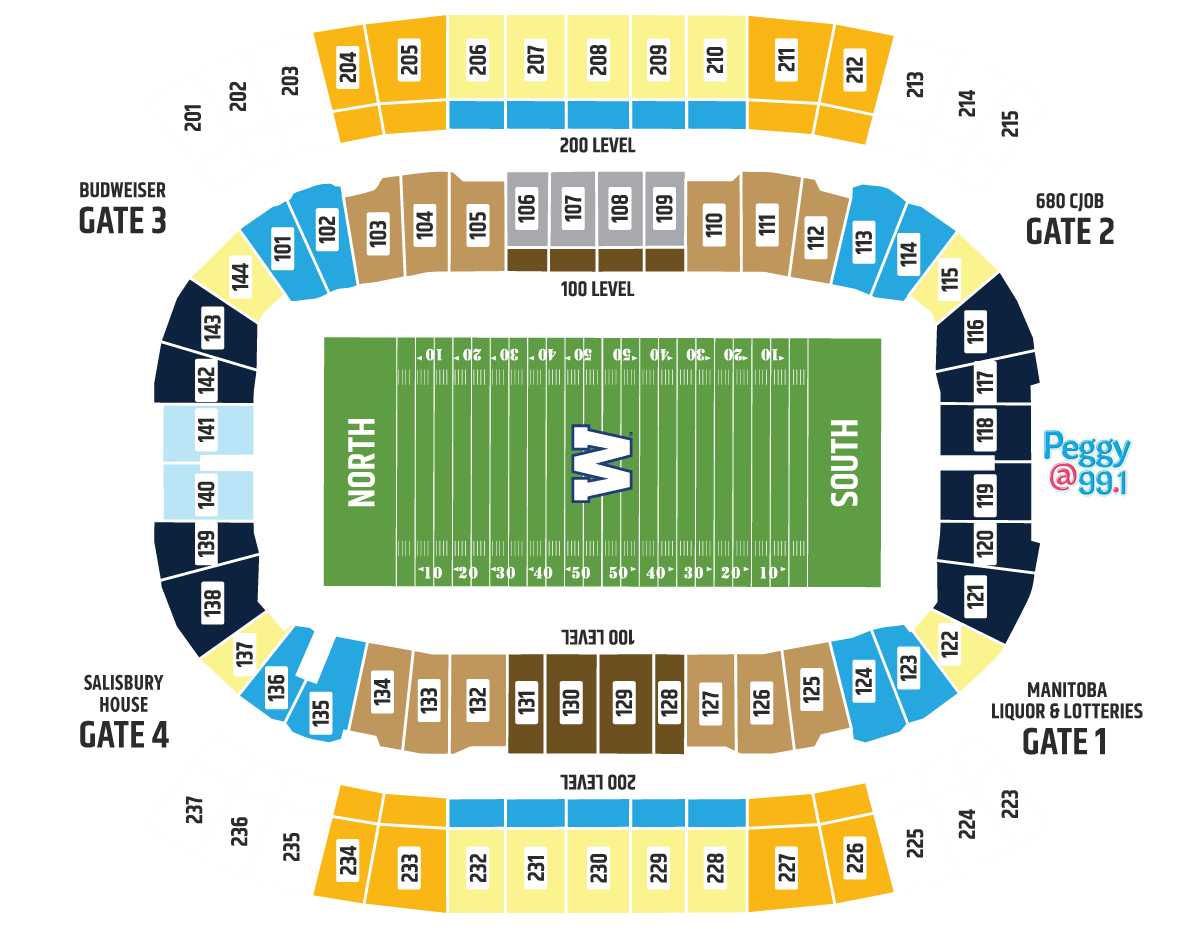 3D Seating Map - Winnipeg Blue Bombers