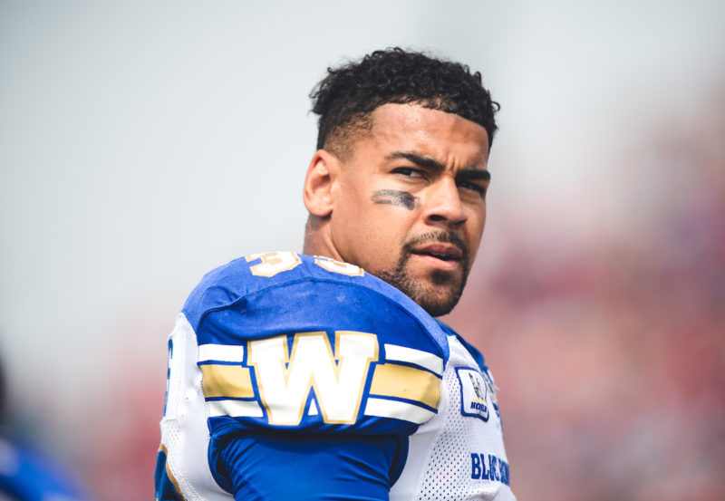 Andrew Harris (33) of the Winnipeg Blue Bombers during the game against the Calgary Stampeders at McMahon Stadium in Calgary, AB on Thursday, August 25, 2018. (Photo: Johany Jutras / CFL)