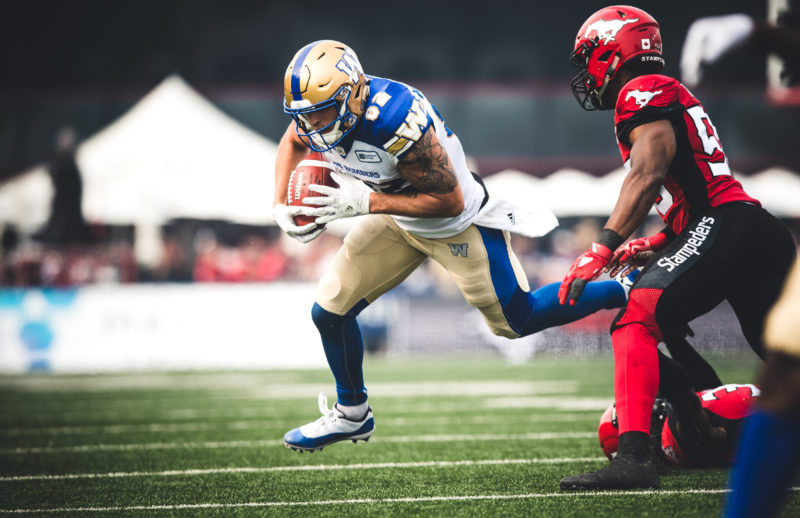 Drew Wolitarsky (82) of the Winnipeg Blue Bombers during the game against the Calgary Stampeders at McMahon Stadium in Calgary, AB on Thursday, August 25, 2018. (Photo: Johany Jutras / CFL)