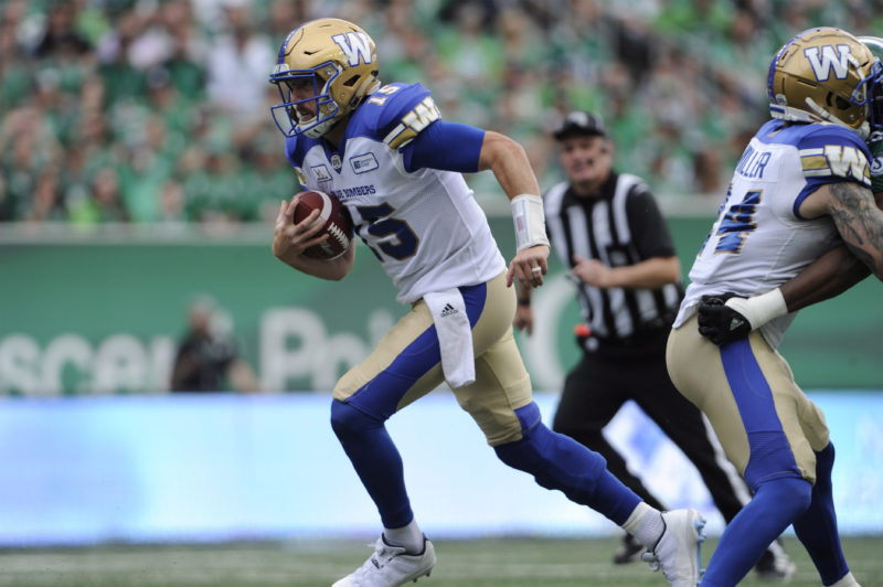 Winnipeg Blue Bombers quarterback Matt Nichols runs against the Saskatchewan Roughriders during first half CFL football action at Mosaic Stadium in Regina on Sunday, Sept. 2, 2018. THE CANADIAN PRESS/Mark Taylor