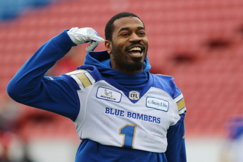 Blue Bombers' Darvin Adams during warm-up CFL, West Final action in Calgary, AB, on Sunday,  Nov. 18th, 2018.  (CFL PHOTO - Dave Chidley)