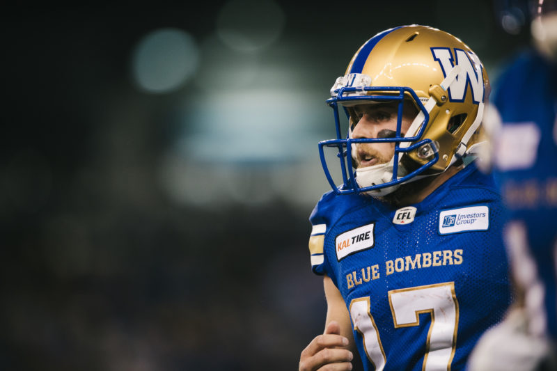 Chris Streveler (17)) of the Winnipeg Blue Bombers during the game against the Edmonton Eskimos at Investors Group Field in Winnipeg, MB on Thursday, June 14, 2018. (Photo: Johany Jutras / CFL)