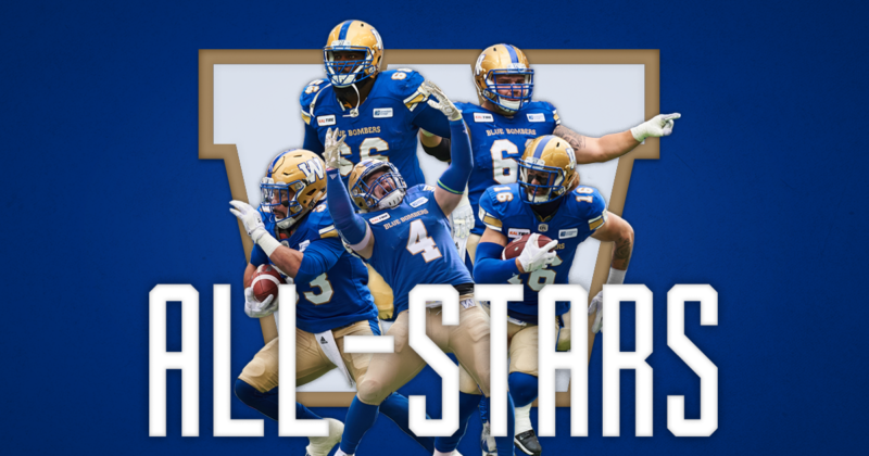 Five Blue Bombers Named CFL All-Stars