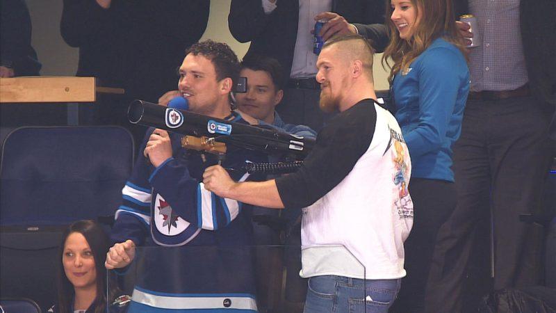 Adam Bighill visits the Winnipeg Jets