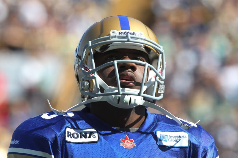 Chris Matthews of the Winnipeg Blue Bombers looks up into the stands during second half CFL action between the Winnipeg Blue Bombers and the Saskatchewan Roughriders in Winnipeg, Sunday, September 9, 2012. (CFL PHOTO - Marianne Helm)