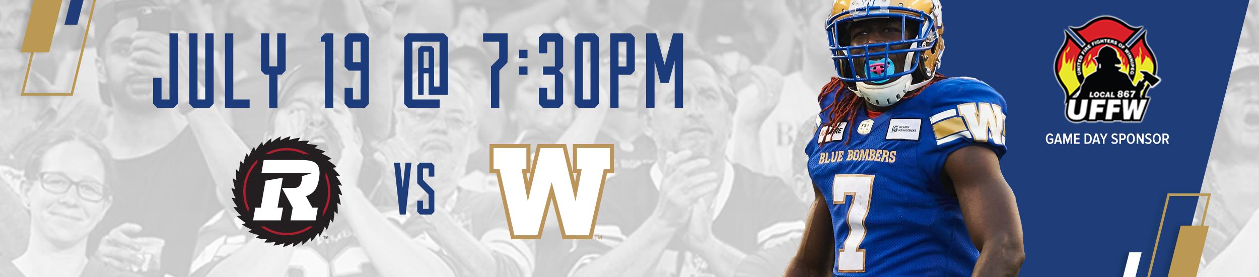 Winnipeg Blue Bombers vs. Ottawa REDBLACKS - Friday, July 19 2019