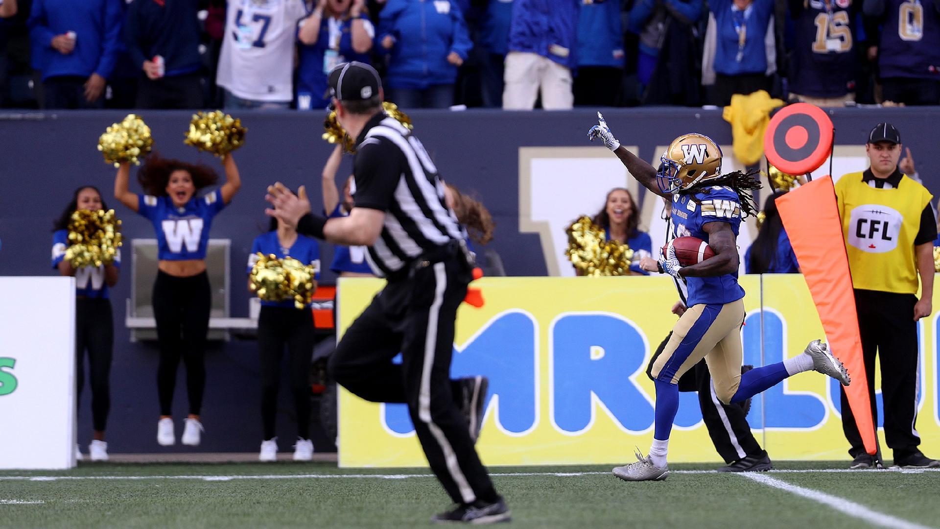 Week 13 Highlights | Janarion Grant punt return TD - Winnipeg Blue ...
