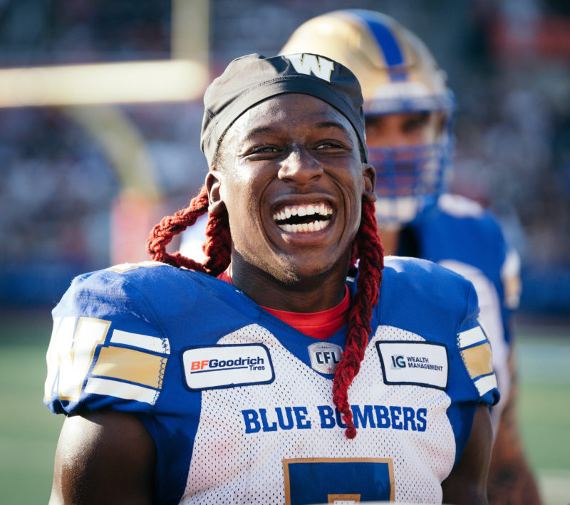 Lucky Whitehead (7) of the Winnipeg Blue Bombers during the CFL game against the Montreal Alouettes at Percival Molson Stadium in Montreal, QC, Saturday, Sept. 21, 2019. (Photo: Johany Jutras)