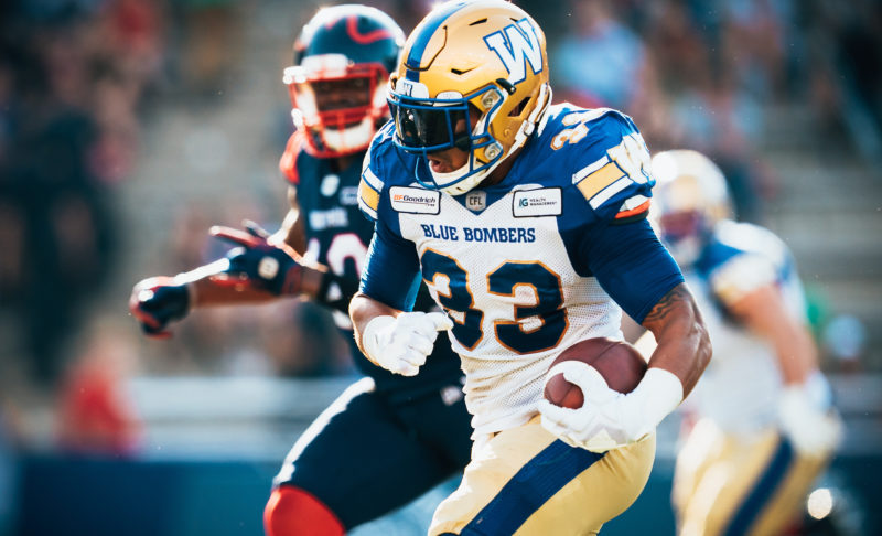 Andrew Harris (33) of the Winnipeg Blue Bombers during the CFL game against the Montreal Alouettes at Percival Molson Stadium in Montreal, QC, Saturday, Sept. 21, 2019. (Photo: Johany Jutras)
