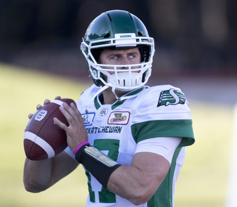 Saskatchewan Roughriders quarterback Zach Collaros during CFL action against the Calgary Stampeders in Calgary, Ab. on Sat. Oct. 20, 2018.  (CFL PHOTO - Larry MacDougal)