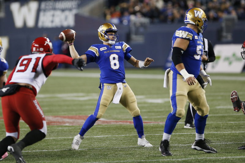 Winnipeg Blue Bombers quarterback Zach Collaros (8) throws against the Calgary Stampeders during the first half of CFL action in Winnipeg Friday, October 25, 2019. THE CANADIAN PRESS/John Woods
