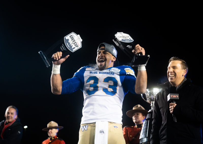 Andrew Harris (33) of the Winnipeg Blue Bombers after winning the 107th Grey Cup game between the Hamilton Tiger-Cats and the Winnipeg Blue Bombers at McMahon Stadium in Calgary, AB, Sunday, November. 24, 2019. (Photo: Johany Jutras/CFL)