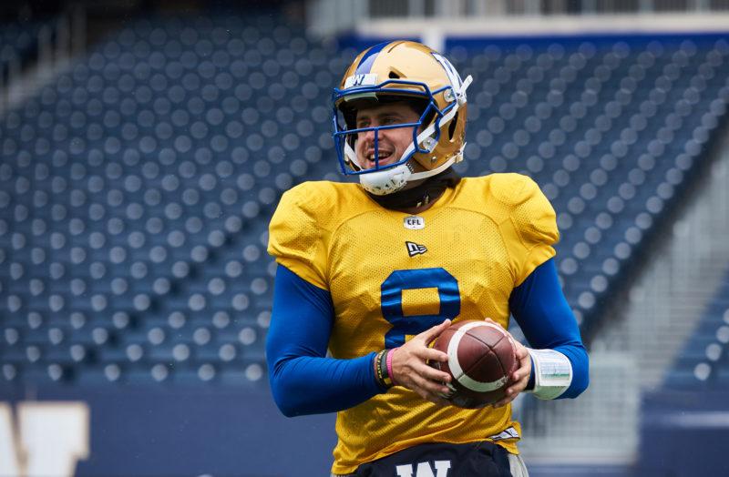 Winnipeg Blue Bombers #8 Zach Collaros at practice November 14, 2019.