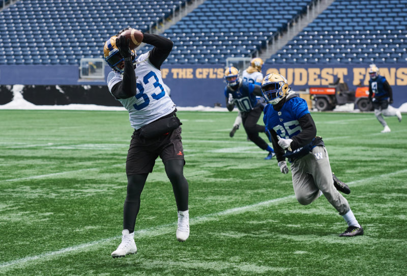 Winnipeg Blue Bombers #33 Andrew Harris at practice November 14, 2019.