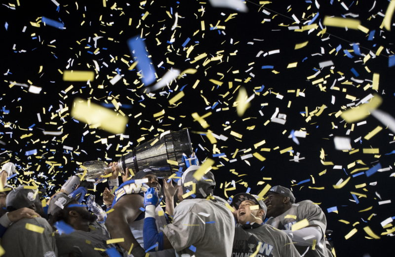 The Winnipeg Blue Bombers celebrate winning the 107th Grey Cup against the Hamilton Tiger Cats in Calgary, Alta., Sunday, November 24, 2019. THE CANADIAN PRESS/Nathan Denette
