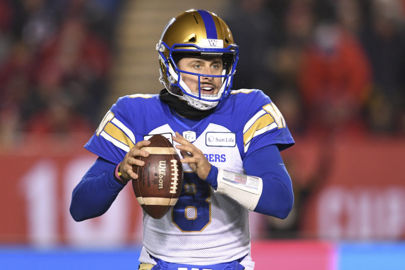 Zach Collaros (8) of the Winnipeg Blue Bombers during the 107th Grey Cup game between the Hamilton Tiger-Cats and the Winnipeg Blue Bombers at McMahon Stadium in Calgary, AB, Sunday, November. 24, 2019. (Photo: Candice Ward/CFL)